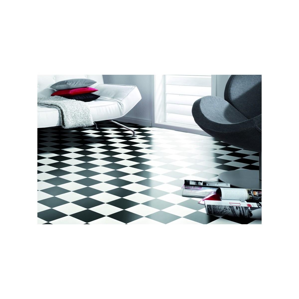 Vareprøve Vinylbelegg til bad sjakkmønster black/white